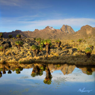 Lenana and Batian as reflections in a tarn